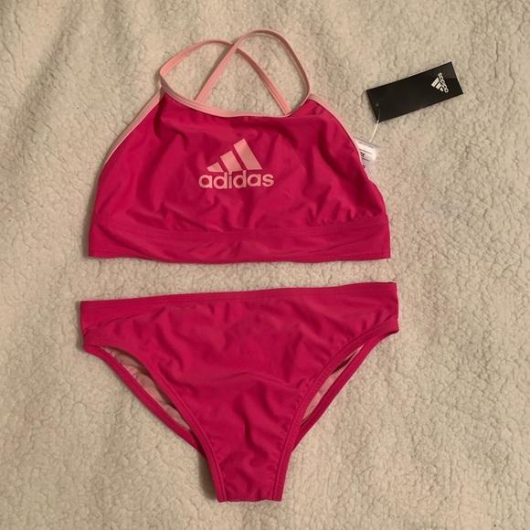 Girls Adidas Strappy Logo 2 Piece Swim Suit